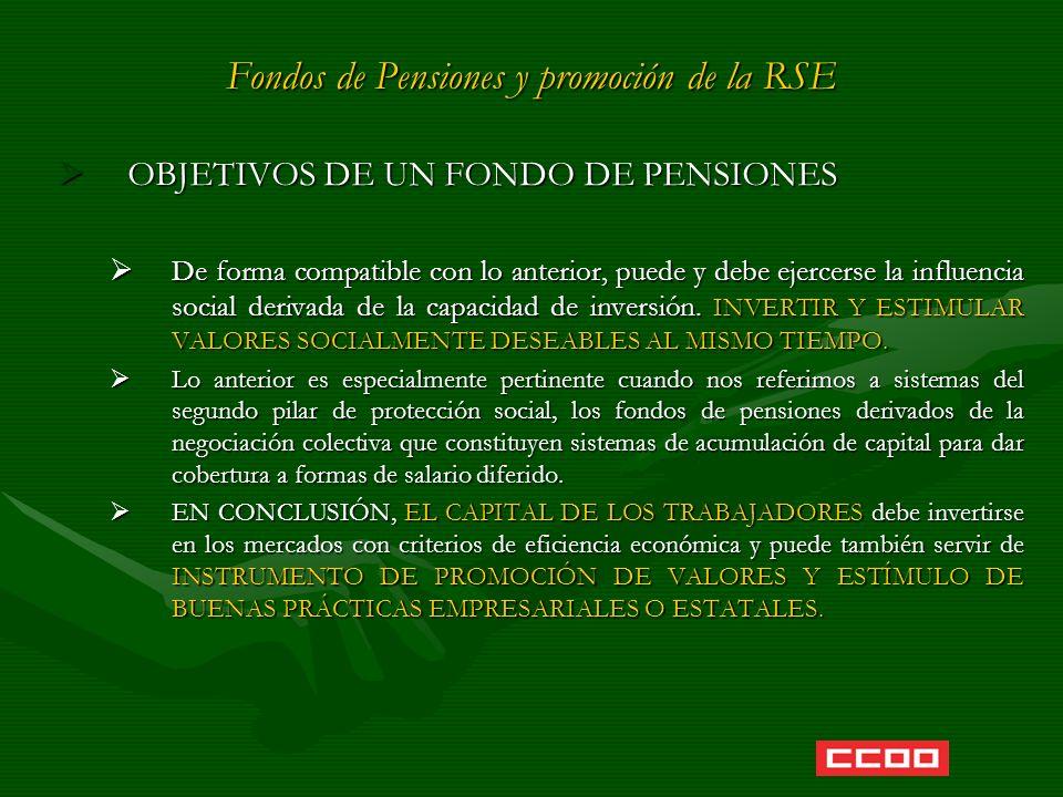 Fondos de Pensiones y promoción de la RSE OBJETIVOS DE UN FONDO DE PENSIONES OBJETIVOS DE UN FONDO DE PENSIONES De forma compatible con lo anterior, p