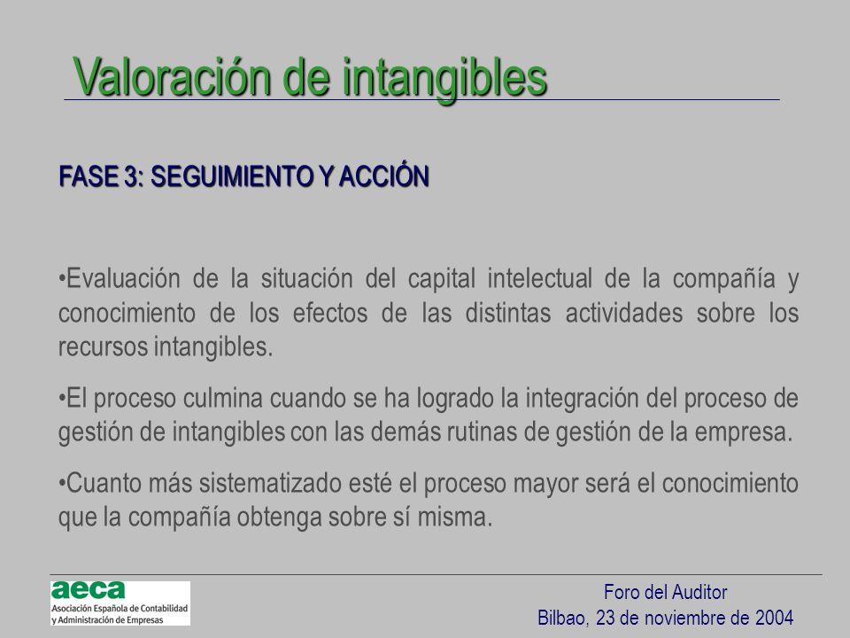 Foro del Auditor Bilbao, 23 de noviembre de 2004 FASE 3: SEGUIMIENTO Y ACCIÓN Evaluación de la situación del capital intelectual de la compañía y cono