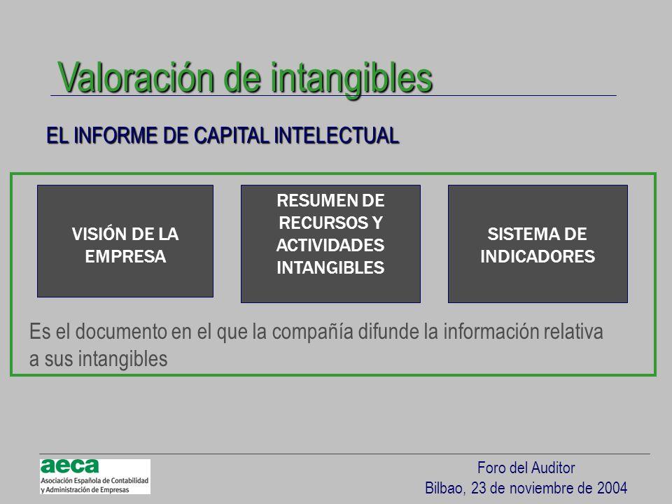 Foro del Auditor Bilbao, 23 de noviembre de 2004 EL INFORME DE CAPITAL INTELECTUAL Valoración de intangibles VISIÓN DE LA EMPRESA RESUMEN DE RECURSOS