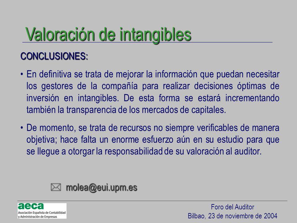 Foro del Auditor Bilbao, 23 de noviembre de 2004 CONCLUSIONES: En definitiva se trata de mejorar la información que puedan necesitar los gestores de l