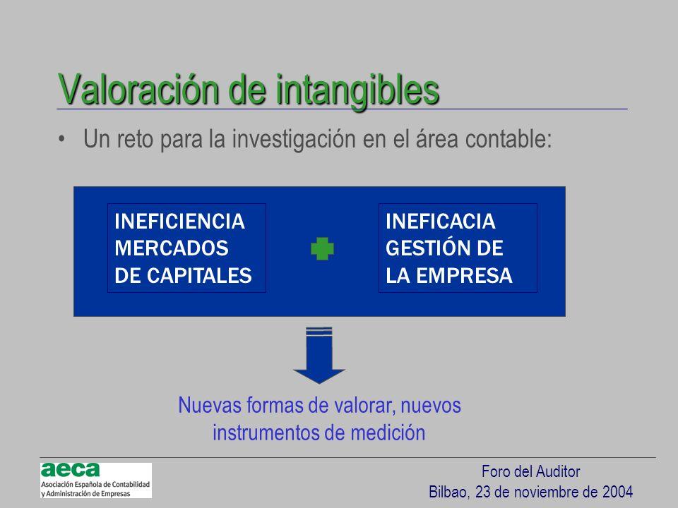 Foro del Auditor Bilbao, 23 de noviembre de 2004 Valoración de intangibles Un reto para la investigación en el área contable: INEFICIENCIA MERCADOS DE