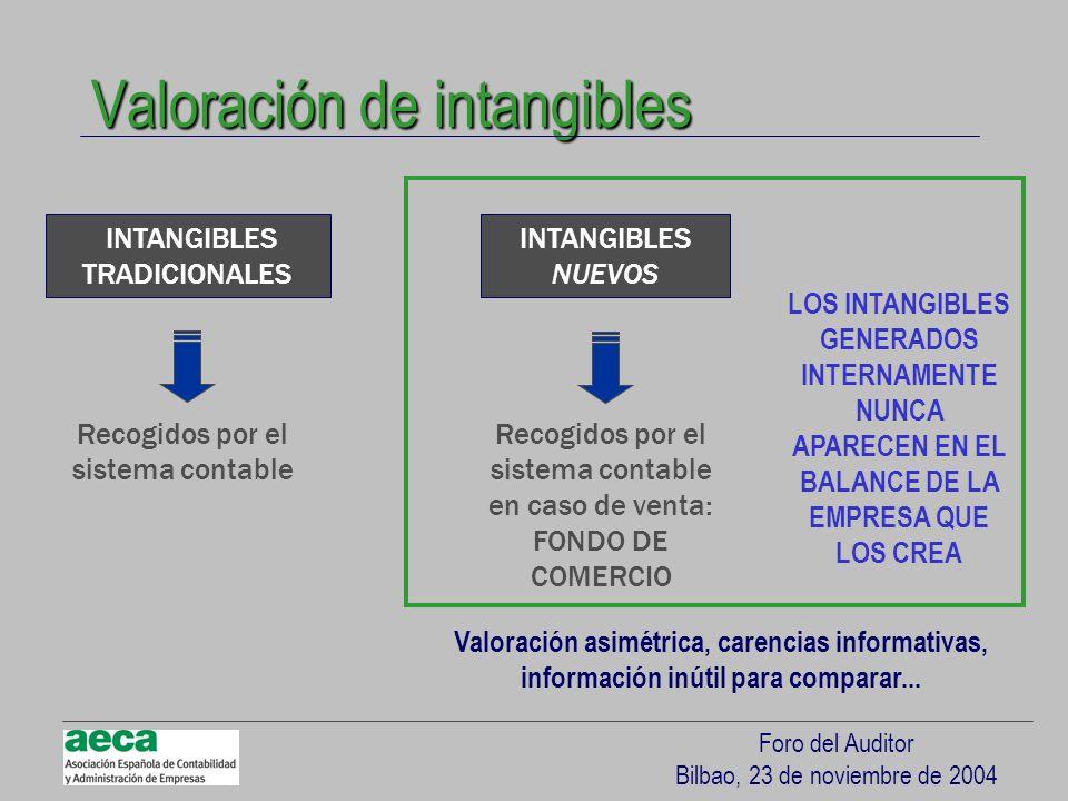 Foro del Auditor Bilbao, 23 de noviembre de 2004 Valoración de intangibles INTANGIBLES TRADICIONALES INTANGIBLES NUEVOS Recogidos por el sistema conta