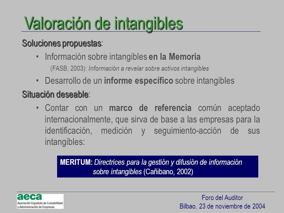 Foro del Auditor Bilbao, 23 de noviembre de 2004 Valoración de intangibles Soluciones propuestas Soluciones propuestas: Información sobre intangibles