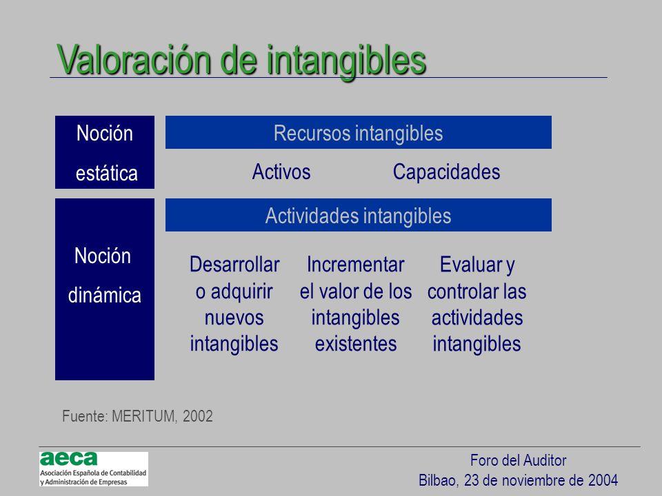 Foro del Auditor Bilbao, 23 de noviembre de 2004 Valoración de intangibles Noción estática Noción dinámica Recursos intangibles Actividades intangible