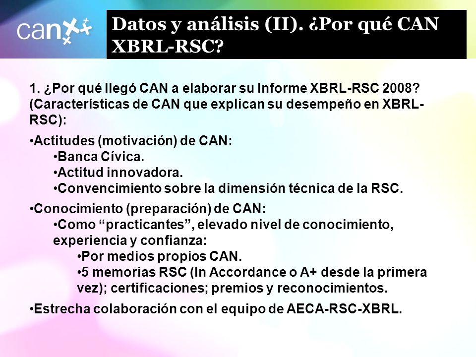 10 Datos y análisis (II). ¿Por qué CAN XBRL-RSC? 1. ¿Por qué llegó CAN a elaborar su Informe XBRL-RSC 2008? (Características de CAN que explican su de