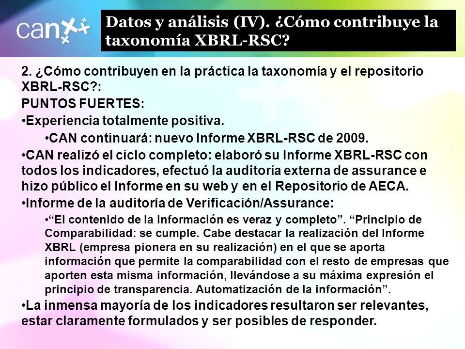 12 Datos y análisis (IV). ¿Cómo contribuye la taxonomía XBRL-RSC? 2. ¿Cómo contribuyen en la práctica la taxonomía y el repositorio XBRL-RSC?: PUNTOS