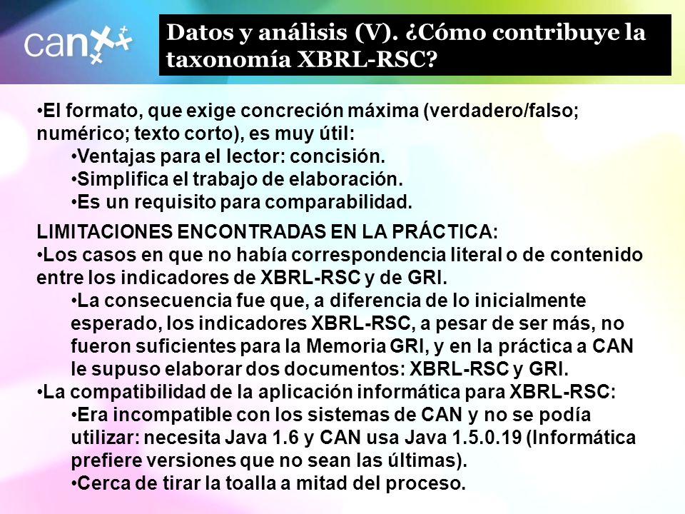 13 Datos y análisis (V). ¿Cómo contribuye la taxonomía XBRL-RSC? El formato, que exige concreción máxima (verdadero/falso; numérico; texto corto), es