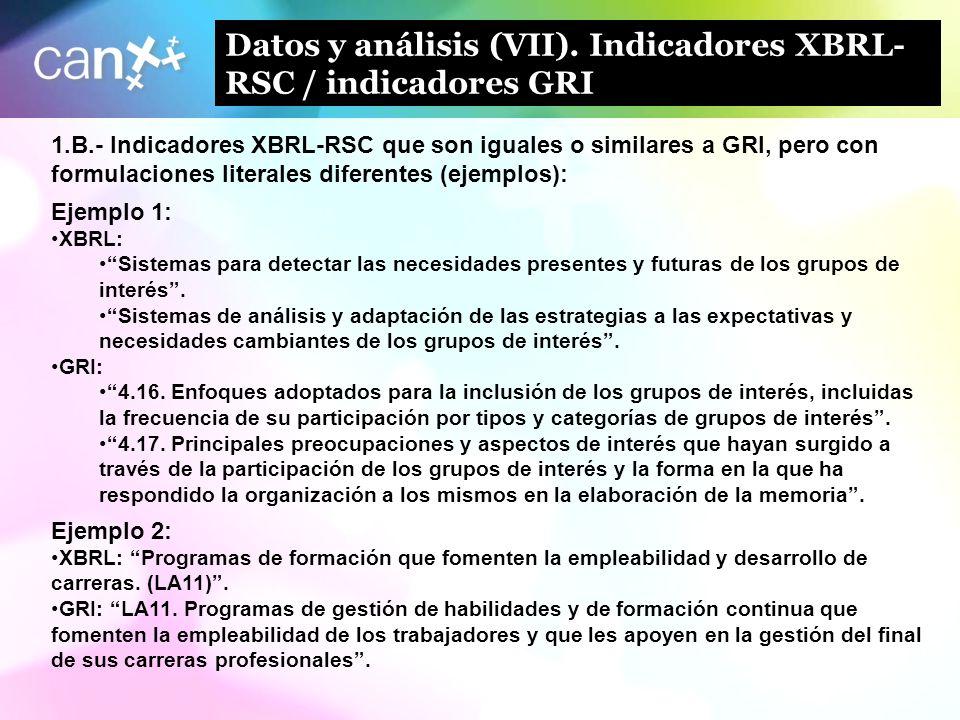 15 Datos y análisis (VII). Indicadores XBRL- RSC / indicadores GRI 1.B.- Indicadores XBRL-RSC que son iguales o similares a GRI, pero con formulacione