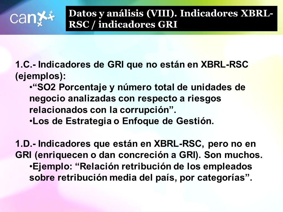 16 Datos y análisis (VIII). Indicadores XBRL- RSC / indicadores GRI 1.C.- Indicadores de GRI que no están en XBRL-RSC (ejemplos): SO2 Porcentaje y núm
