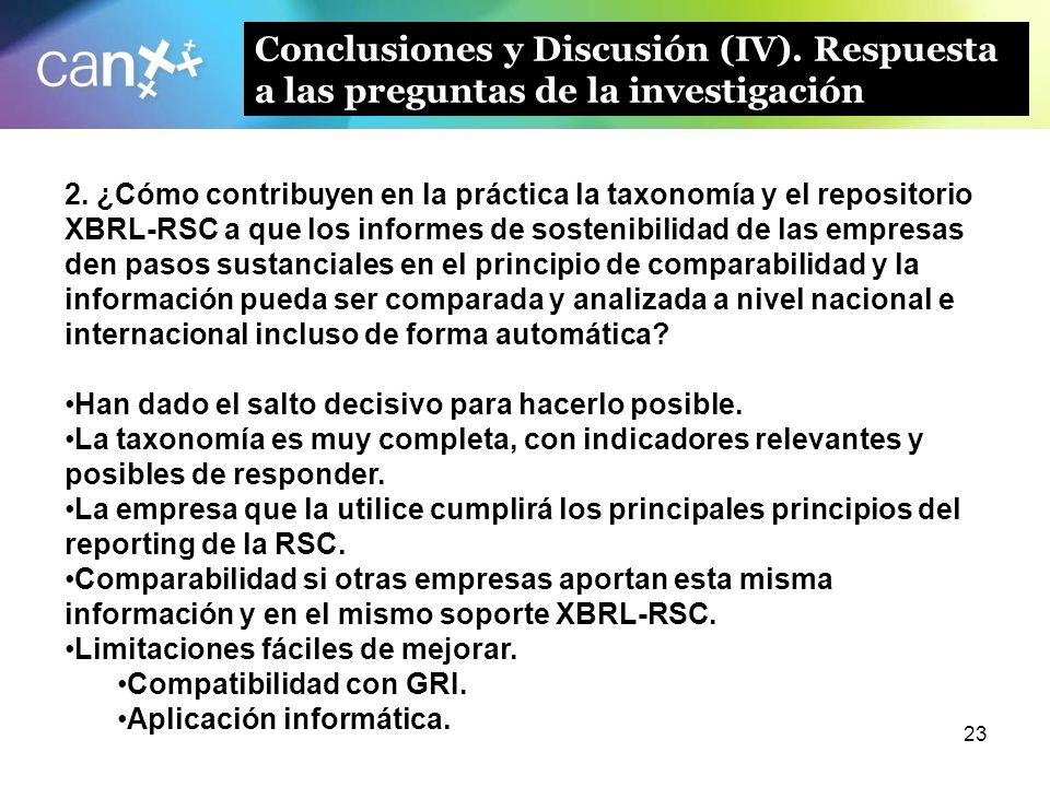 23 Conclusiones y Discusión (IV). Respuesta a las preguntas de la investigación 2. ¿Cómo contribuyen en la práctica la taxonomía y el repositorio XBRL