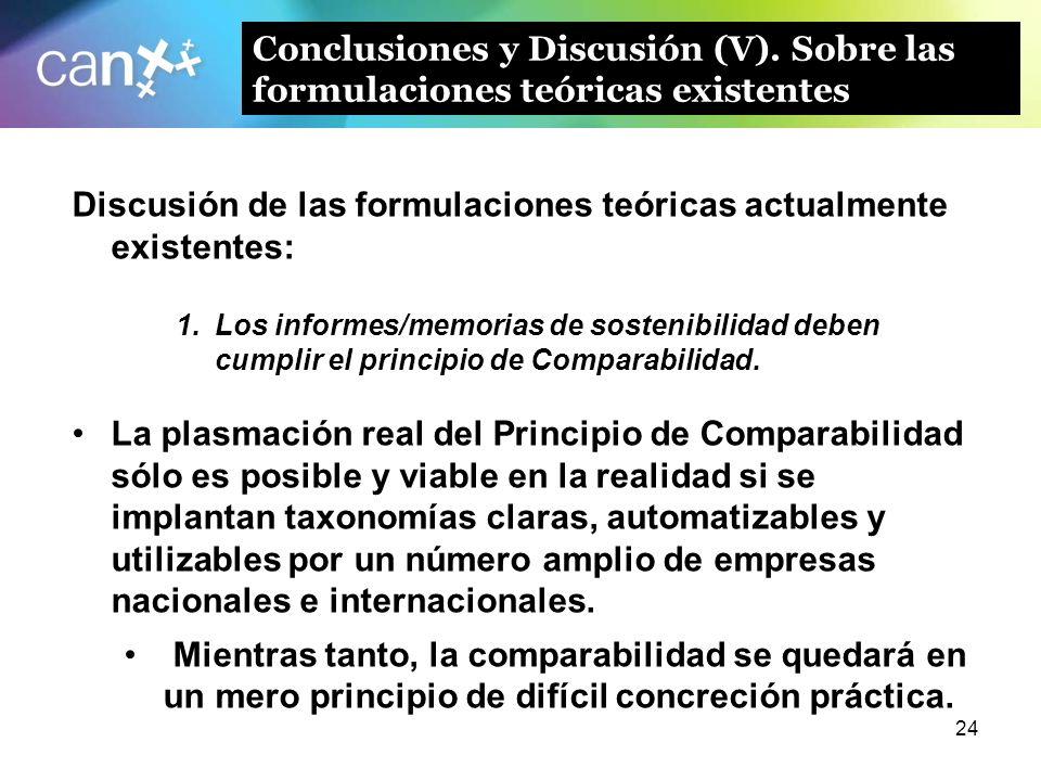 24 Conclusiones y Discusión (V). Sobre las formulaciones teóricas existentes Discusión de las formulaciones teóricas actualmente existentes: 1.Los inf