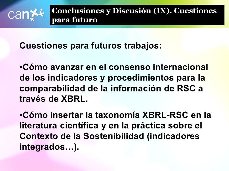 28 Conclusiones y Discusión (IX). Cuestiones para futuro Cuestiones para futuros trabajos: Cómo avanzar en el consenso internacional de los indicadore