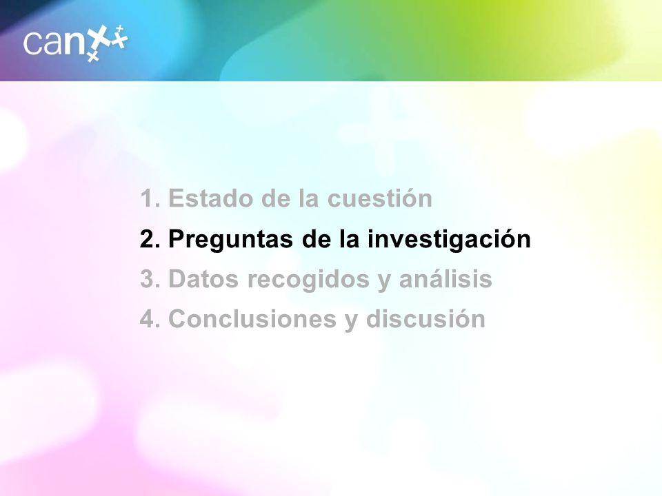 6 1. Estado de la cuestión 2. Preguntas de la investigación 3. Datos recogidos y análisis 4. Conclusiones y discusión