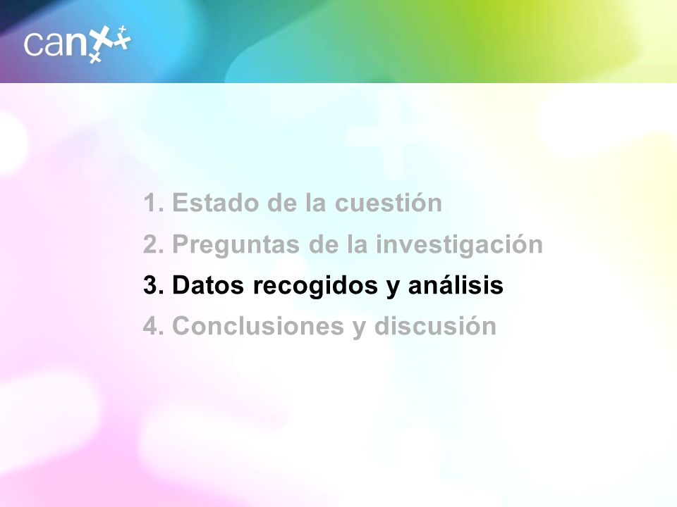 8 1. Estado de la cuestión 2. Preguntas de la investigación 3. Datos recogidos y análisis 4. Conclusiones y discusión