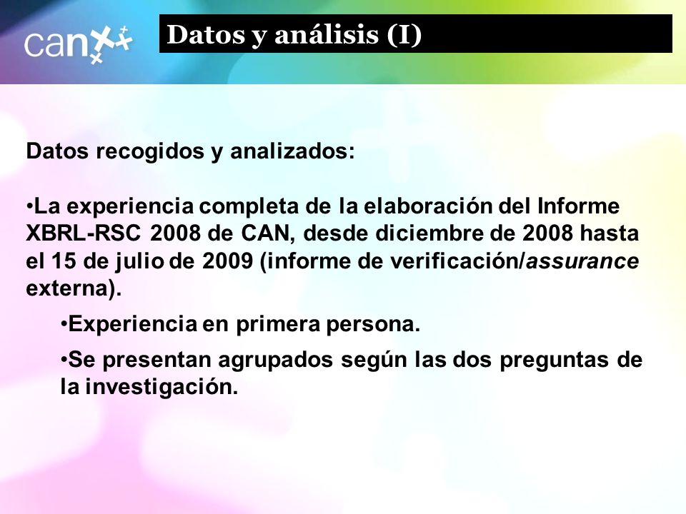 9 Datos y análisis (I) Datos recogidos y analizados: La experiencia completa de la elaboración del Informe XBRL-RSC 2008 de CAN, desde diciembre de 20