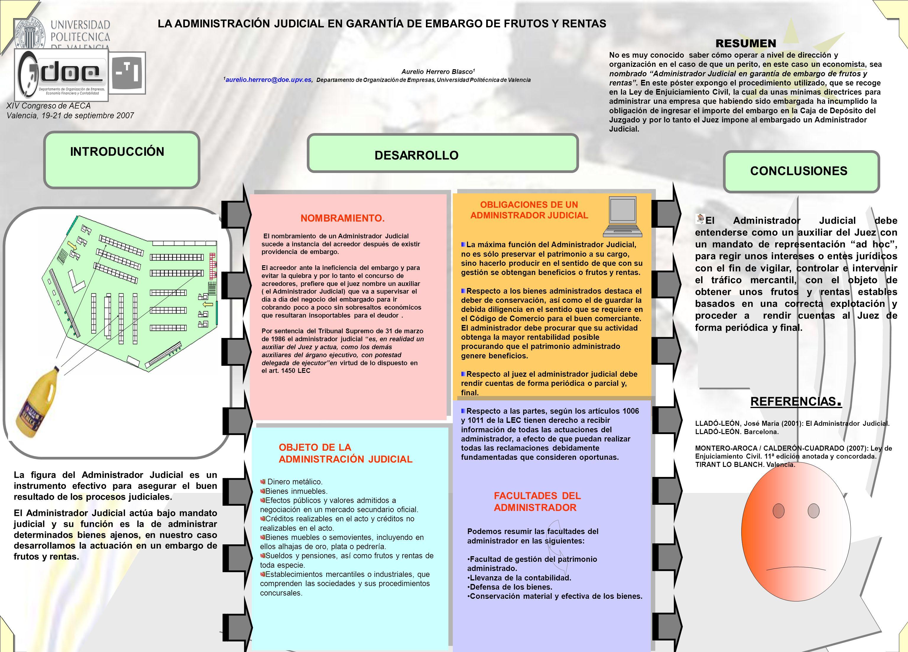 INTRODUCCIÓN CONCLUSIONES DESARROLLO La figura del Administrador Judicial es un instrumento efectivo para asegurar el buen resultado de los procesos j