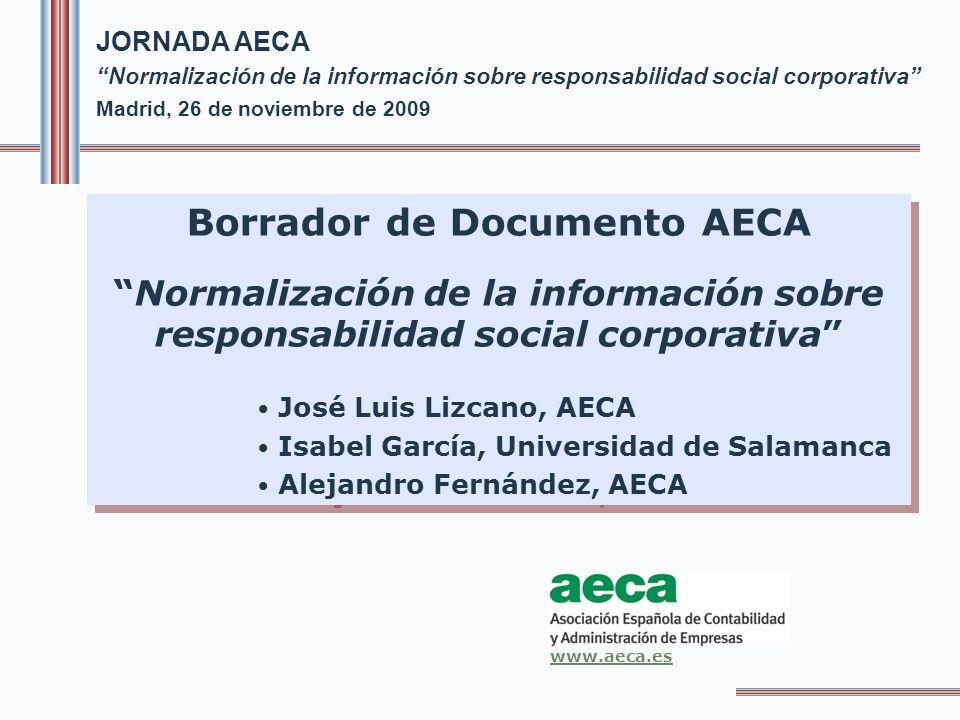 SUMARIO INTRODUCCION 1.CONTEXTO Y MARCO DE REFERENCIA DE LA INFORMACIÓN SOBRE RESPONSABILIDAD SOCIAL CORPORATIVA 1.1.Contexto internacional de la información sobre RSC 1.2.La información sobre responsabilidad social corporativa en España 1.3.El marco de referencia de la normalización de la información financiera 2.PRINCIPALES PROBLEMAS DE LA INFORMACION SOBRE RESPONSABILIDAD SOCIAL CORPORATIVA Borrador de Documento AECA Normalización de la información sobre responsabilidad social corporativa 2.../...