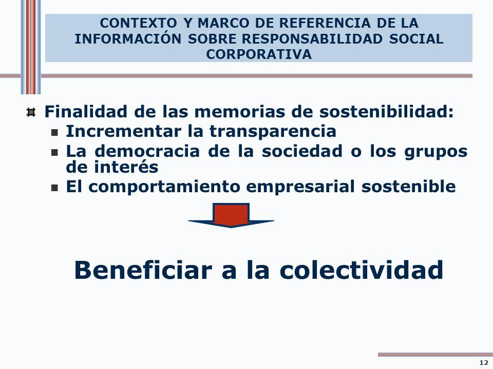 Finalidad de las memorias de sostenibilidad: Incrementar la transparencia La democracia de la sociedad o los grupos de interés El comportamiento empre
