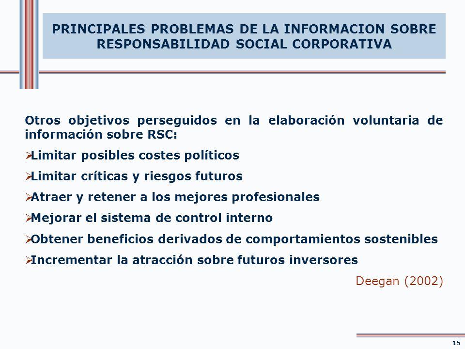 PRINCIPALES PROBLEMAS DE LA INFORMACION SOBRE RESPONSABILIDAD SOCIAL CORPORATIVA Otros objetivos perseguidos en la elaboración voluntaria de informaci