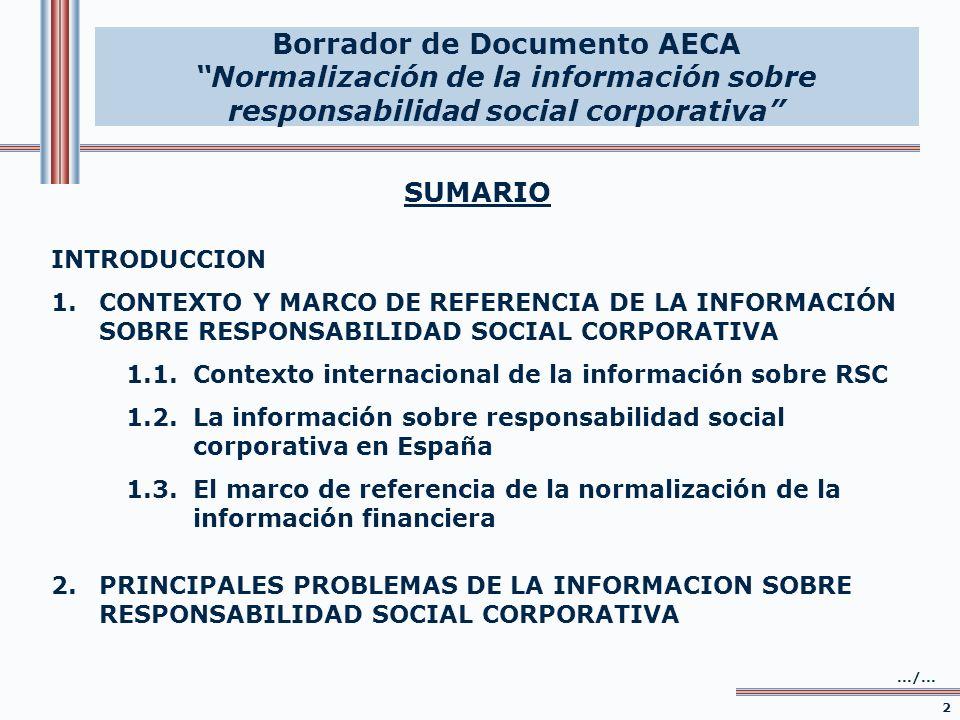SUMARIO INTRODUCCION 1.CONTEXTO Y MARCO DE REFERENCIA DE LA INFORMACIÓN SOBRE RESPONSABILIDAD SOCIAL CORPORATIVA 1.1.Contexto internacional de la info
