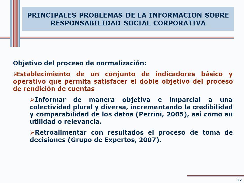 Objetivo del proceso de normalización: Establecimiento de un conjunto de indicadores básico y operativo que permita satisfacer el doble objetivo del p