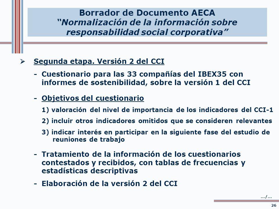 Segunda etapa. Versión 2 del CCI -Cuestionario para las 33 compañías del IBEX35 con informes de sostenibilidad, sobre la versión 1 del CCI 26.../... -