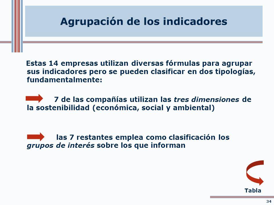 Estas 14 empresas utilizan diversas fórmulas para agrupar sus indicadores pero se pueden clasificar en dos tipologías, fundamentalmente: 7 de las comp