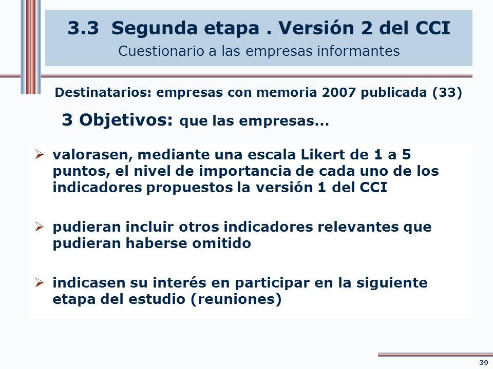 3.3 Segunda etapa. Versión 2 del CCI Cuestionario a las empresas informantes valorasen, mediante una escala Likert de 1 a 5 puntos, el nivel de import