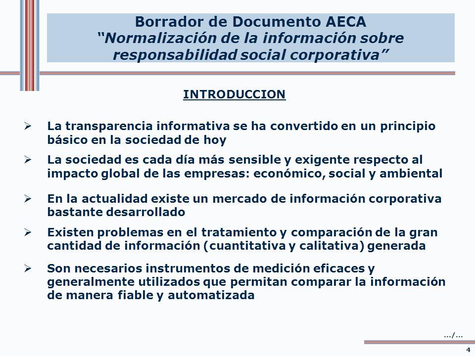 INTRODUCCION Propuestas – proyectos de AECA 1.Elaboración de un Cuadro General-Comprensivo de Indicadores de Responsabilidad Social Corporativa (CGI-RSC) y de su taxonomía XBRL 5.../...
