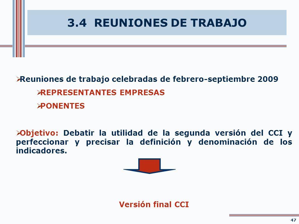 3.4 REUNIONES DE TRABAJO Reuniones de trabajo celebradas de febrero-septiembre 2009 REPRESENTANTES EMPRESAS PONENTES Objetivo: Debatir la utilidad de