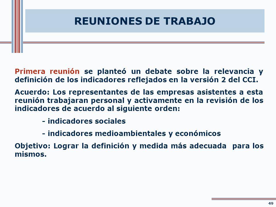 REUNIONES DE TRABAJO Primera reunión se planteó un debate sobre la relevancia y definición de los indicadores reflejados en la versión 2 del CCI. Acue