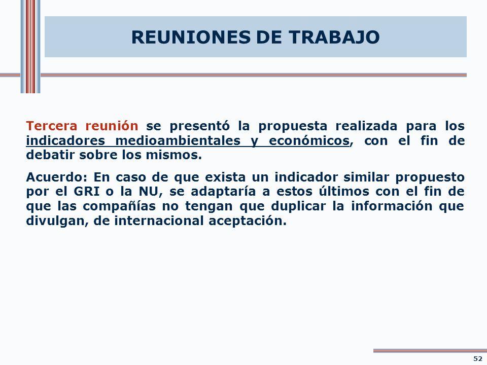 REUNIONES DE TRABAJO Tercera reunión se presentó la propuesta realizada para los indicadores medioambientales y económicos, con el fin de debatir sobr