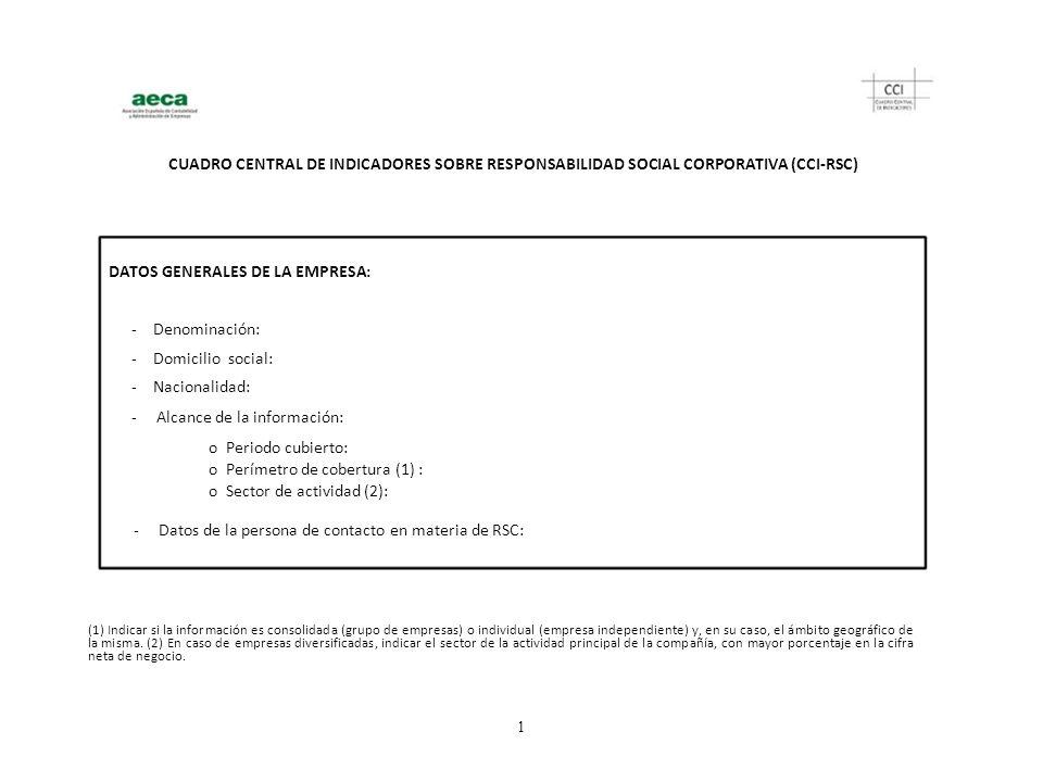 CUADRO CENTRAL DE INDICADORES SOBRE RESPONSABILIDAD SOCIAL CORPORATIVA (CCI-RSC) DATOS GENERALES DE LA EMPRESA: - Denominación: - Domicilio social: -