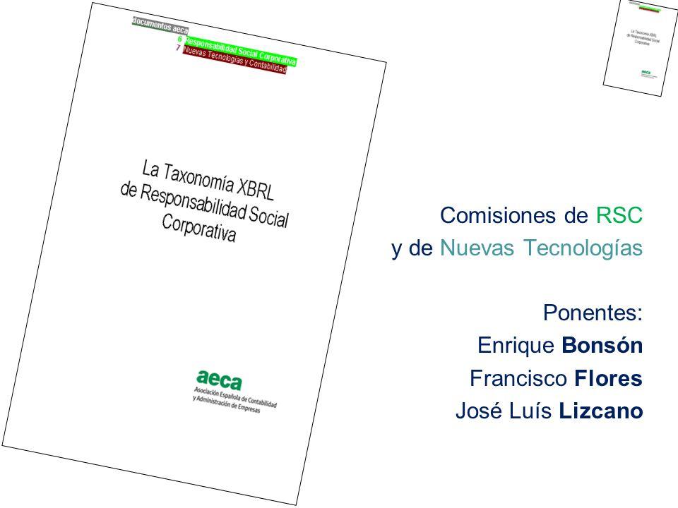 1998 - Hoffman - AICPA - XBRL Internacional - movimiento global 2000 - Universidad de Huelva - divulgación a nivel nacional 2002 - AECA - jurisdicción provisional 2004 - Banco España - XBRL España - CNMV - DGI - sector financiero 2007 - Red.es - sector público - sector privado 2008 - La Taxonomía RSC como contribución al ámbito global