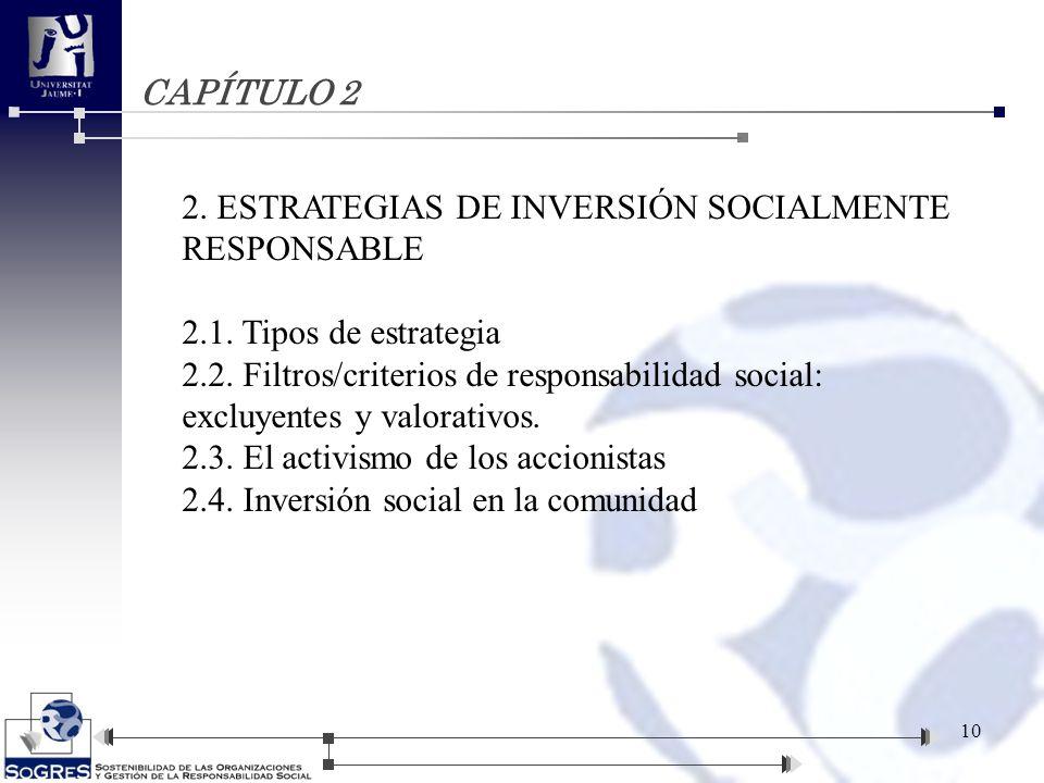 CAPÍTULO 2 2. ESTRATEGIAS DE INVERSIÓN SOCIALMENTE RESPONSABLE 2.1. Tipos de estrategia 2.2. Filtros/criterios de responsabilidad social: excluyentes