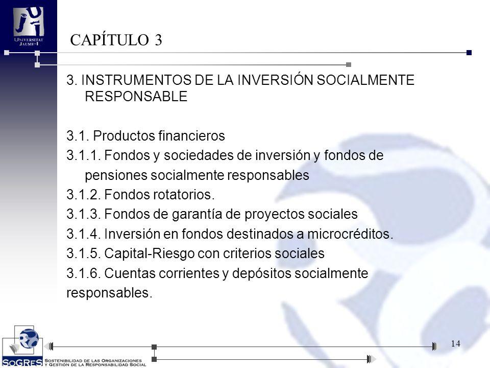 3. INSTRUMENTOS DE LA INVERSIÓN SOCIALMENTE RESPONSABLE 3.1. Productos financieros 3.1.1. Fondos y sociedades de inversión y fondos de pensiones socia
