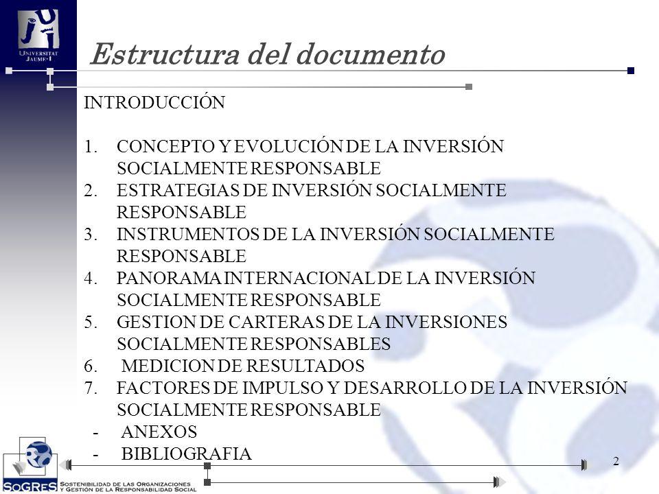 Estructura del documento 2 INTRODUCCIÓN 1.CONCEPTO Y EVOLUCIÓN DE LA INVERSIÓN SOCIALMENTE RESPONSABLE 2.ESTRATEGIAS DE INVERSIÓN SOCIALMENTE RESPONSA