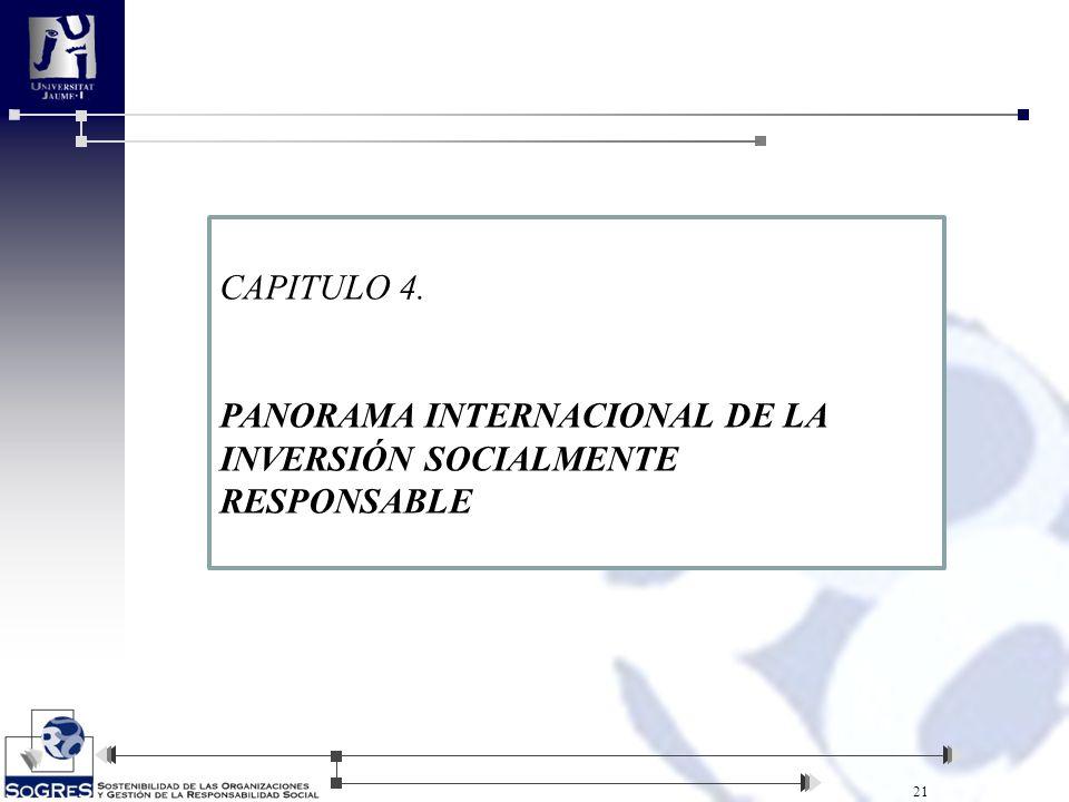 21 CAPITULO 4. PANORAMA INTERNACIONAL DE LA INVERSIÓN SOCIALMENTE RESPONSABLE
