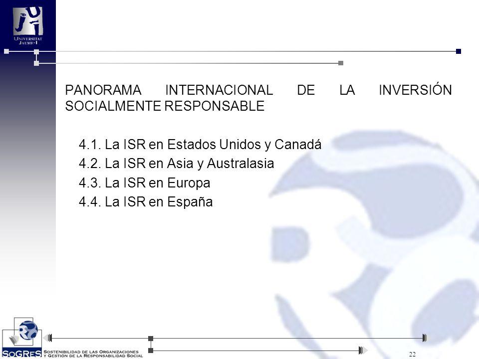 4.1. La ISR en Estados Unidos y Canadá 4.2. La ISR en Asia y Australasia 4.3. La ISR en Europa 4.4. La ISR en España 22