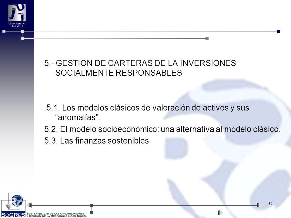 5.- GESTION DE CARTERAS DE LA INVERSIONES SOCIALMENTE RESPONSABLES 5.1. Los modelos clásicos de valoración de activos y sus anomalías. 5.2. El modelo