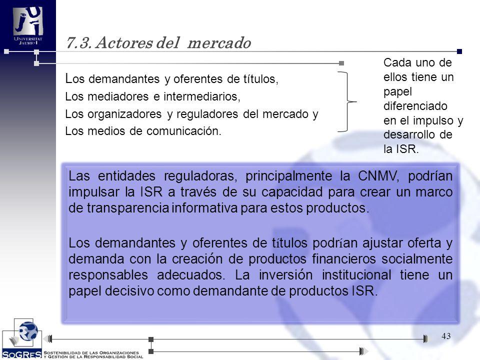 L os demandantes y oferentes de títulos, Los mediadores e intermediarios, Los organizadores y reguladores del mercado y Los medios de comunicación. 43
