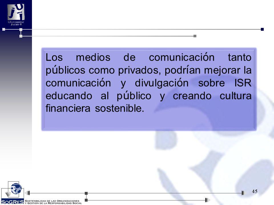 45 Los medios de comunicaci ó n tanto p ú blicos como privados, podr í an mejorar la comunicaci ó n y divulgaci ó n sobre ISR educando al p ú blico y