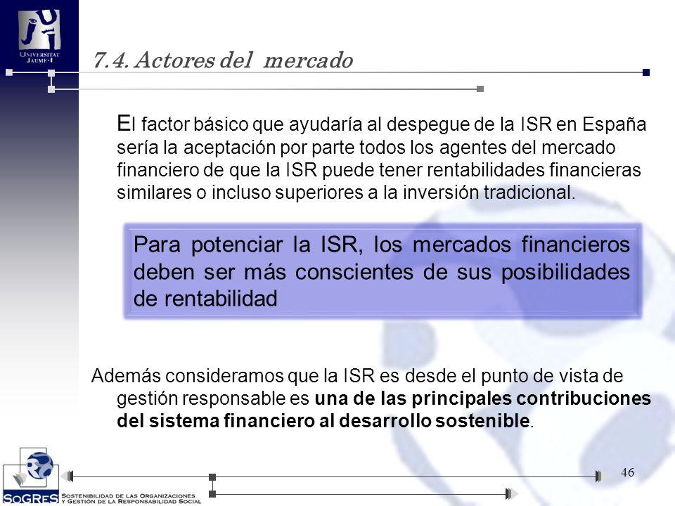 E l factor básico que ayudaría al despegue de la ISR en España sería la aceptación por parte todos los agentes del mercado financiero de que la ISR pu