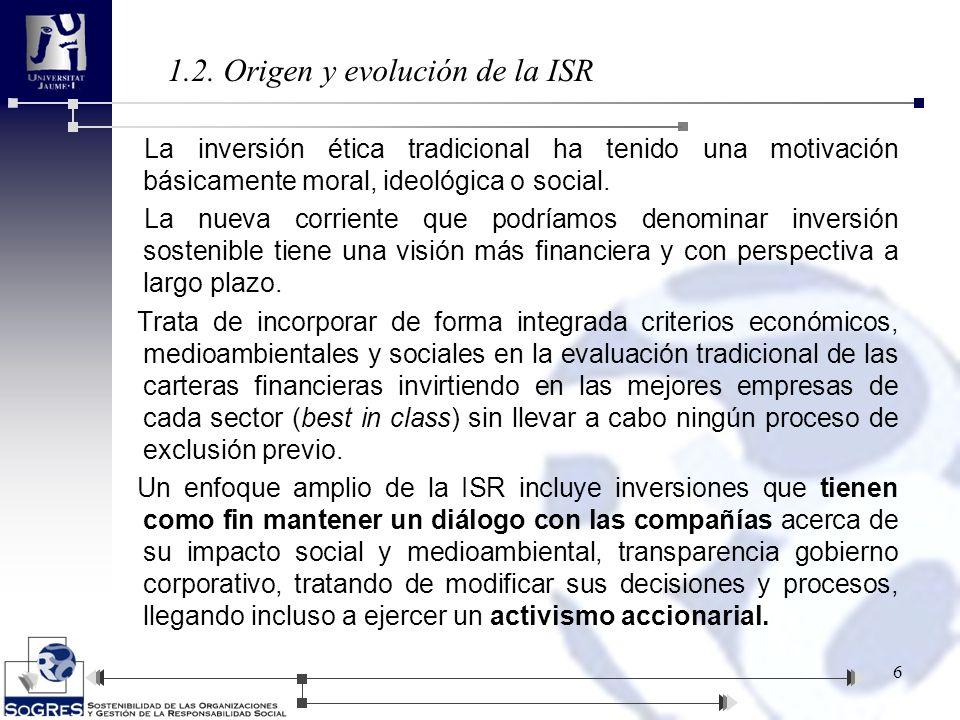 4.4.4.-España 27 Evolución del patrimonio de los fondos éticos en España frente al total de fondos de inversión: Los datos confirman que en España la ISR no ha alcanzado los niveles de desarrollo de otros países europeos.