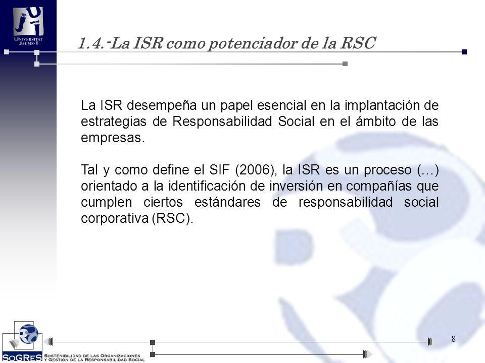 1.4.-La ISR como potenciador de la RSC La ISR desempeña un papel esencial en la implantación de estrategias de Responsabilidad Social en el ámbito de