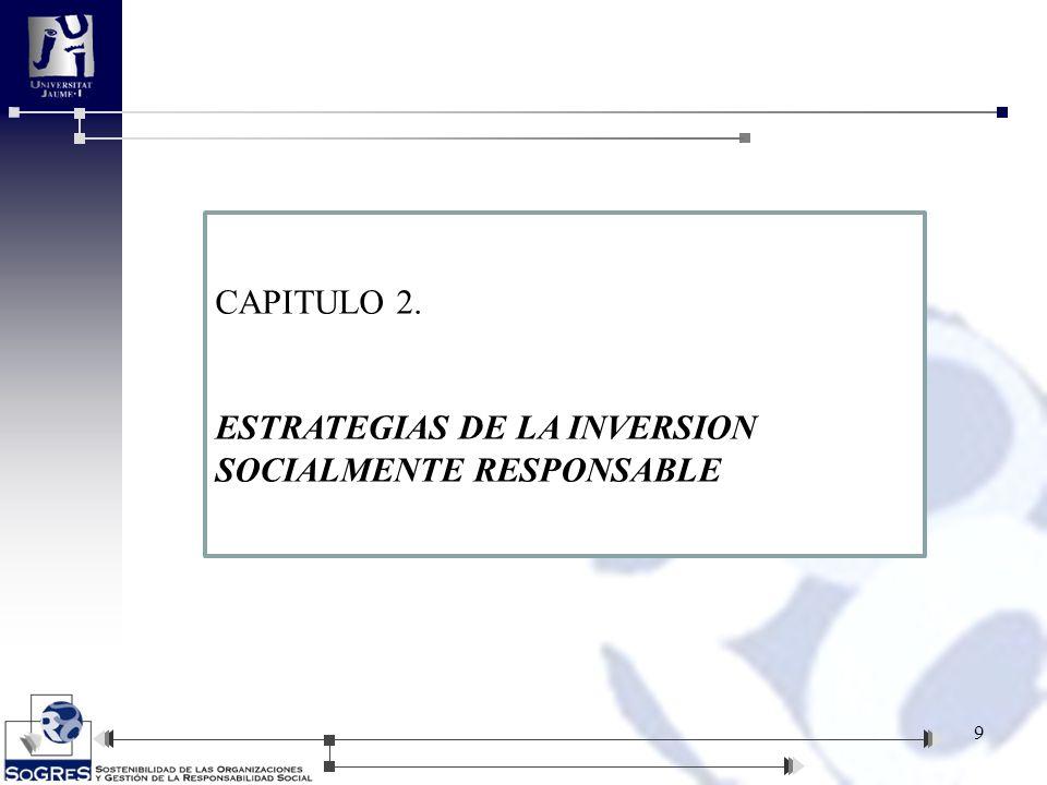 9 CAPITULO 2. ESTRATEGIAS DE LA INVERSION SOCIALMENTE RESPONSABLE