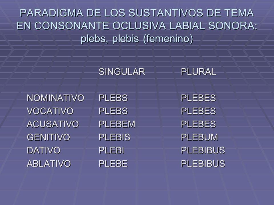 PARADIGMA DE LOS SUSTANTIVOS DE TEMA EN CONSONANTE OCLUSIVA LABIAL SONORA: plebs, plebis (femenino) SINGULARPLURAL NOMINATIVOPLEBSPLEBES VOCATIVOPLEBSPLEBES ACUSATIVOPLEBEMPLEBES GENITIVOPLEBISPLEBUM DATIVOPLEBIPLEBIBUS ABLATIVOPLEBEPLEBIBUS