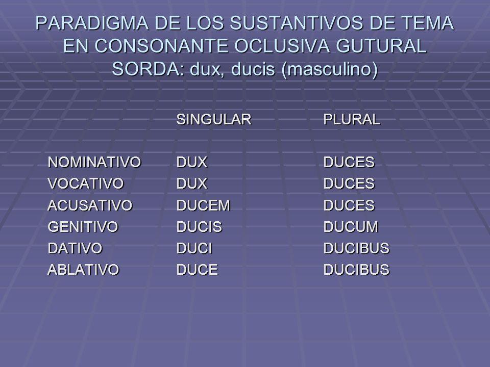 PARADIGMA DE LOS SUSTANTIVOS DE TEMA EN CONSONANTE OCLUSIVA GUTURAL SORDA: dux, ducis (masculino) SINGULARPLURAL NOMINATIVODUXDUCES VOCATIVODUXDUCES ACUSATIVODUCEMDUCES GENITIVODUCISDUCUM DATIVODUCIDUCIBUS ABLATIVODUCEDUCIBUS