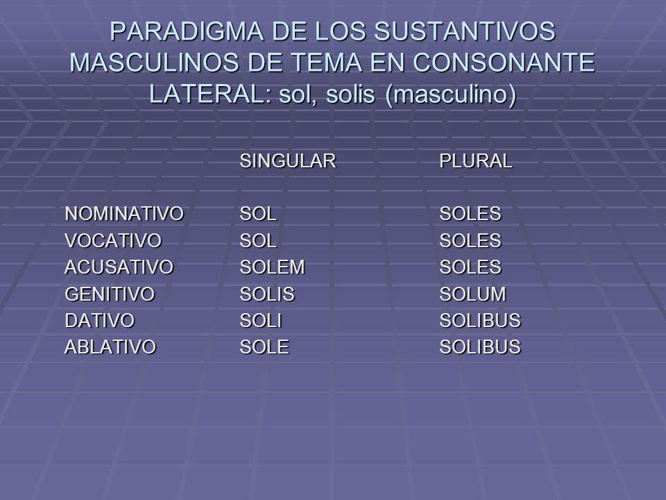 PARADIGMA DE LOS SUSTANTIVOS MASCULINOS DE TEMA EN CONSONANTE LATERAL: sol, solis (masculino) SINGULARPLURAL NOMINATIVOSOLSOLES VOCATIVOSOLSOLES ACUSATIVOSOLEMSOLES GENITIVOSOLISSOLUM DATIVOSOLISOLIBUS ABLATIVOSOLESOLIBUS