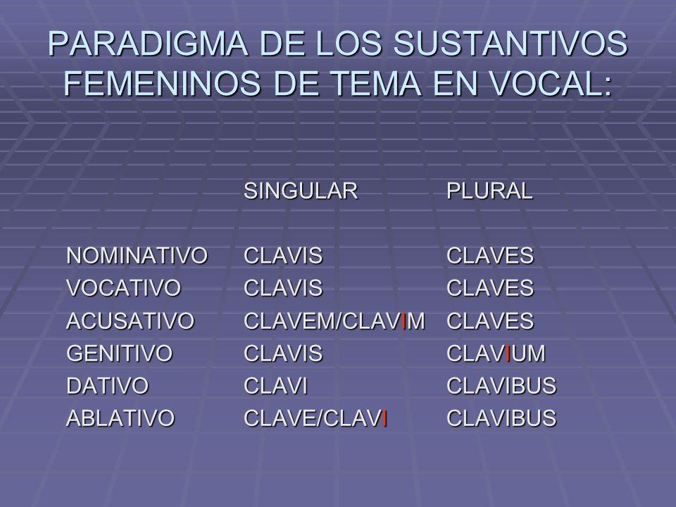 PARADIGMA DE LOS SUSTANTIVOS DE TEMA EN CONSONANTE OCLUSIVA GUTURAL SONORA: lex, legis (femenino) SINGULARPLURAL NOMINATIVOLEXLEGES VOCATIVOLEXLEGES ACUSATIVOLEGEMLEGES GENITIVOLEGISLEGUM DATIVOLEGILEGIBUS ABLATIVOLEGELEGIBUS